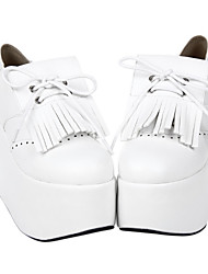 Encaje blanco cuero de la PU de las borlas de 10 cm Cuña Zapatos Casual Lolita