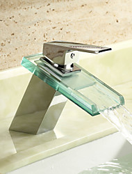 Contemporary Centerset Waterfall Single Handle One Hole with Chrome Bathroom Sink Faucet