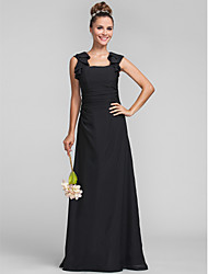 Lanting Bride® Floor-length Chiffon Bridesmaid Dress - Sheath / Column Square Plus Size / Petite with Ruffles / Ruching