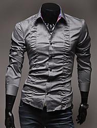 fois décoré shirt couleur pure des hommes