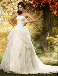 A-line Princess Sweetheart Chapel Train Organza Wedding Dress with Beading Appliques by LAN TING BRIDE®