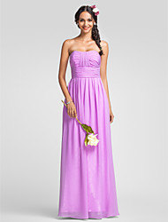 Lanting Floor-length Chiffon Bridesmaid Dress - Lilac Plus Sizes / Petite Sheath/Column Sweetheart