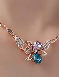 BAFANA Women's Multicolor Crystal Flower Necklace