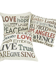 Set of 3 Square Word Game Cotton/Line Decorative Pillow Cover