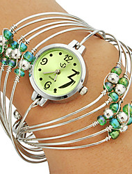 Women's Multi-Strand ringen Bangle design Groene Dial Quartz Analoog Wrist Watch