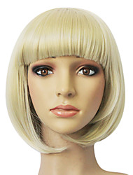 Capless Haut Grade synthétique Golden Blonde Lisse Court Bob perruque