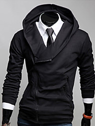 RR BUY Men Black Fashion Fitted Hoodie Coat
