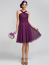 Knee-length Chiffon Bridesmaid Dress - Grape Plus Sizes / Petite A-line / Princess Halter