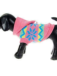 Cães Súeters Rosa Inverno Floco de Neve Natal