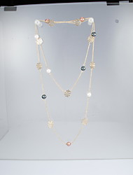 Rich Long Multi-Color Alloy Rose Pearl Sweater Chain