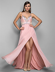 A-line/Princess Straps Sweep/Brush Train Chiffon Evening/Prom Dress