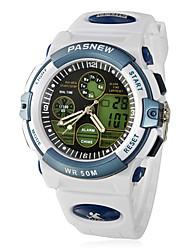 Men's Multi-Function Analog-Digital Dial Rubber Band Quartz Wrist Watch (White)