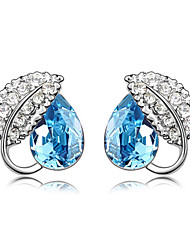 Madou Princess Frauen Liebeskummer Leaf Pattern Studs (Light Blue)