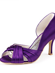 Women's Shoes Satin / Stretch Satin Spring / Summer / Fall Heels Wedding Stiletto Heel Ruched Purple