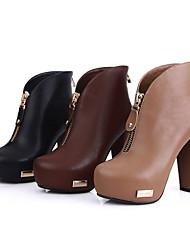 Bom gosto PU Chunky Ankle Boots com Zipper Partido Shoes (mais cores)