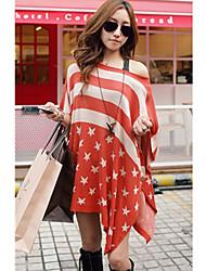 Stripes Star Print chandail de tricots femmes desserrent