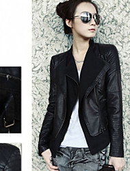 CHAO LIU Women's Black 2013 Autumn Winter New Model Double-Collar Western Style Pu Leather Coat