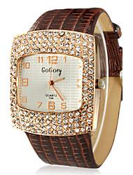 Mulheres Relógio de Moda Quartzo imitação de diamante PU Banda Brilhante Preta Branco Vermelho Marrom RosaBranco Preto Marron Vermelho