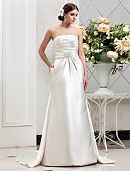 Lan Ting Sheath/Column Plus Sizes Wedding Dress - Ivory Chapel Train Strapless Satin