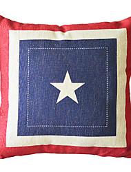 "18"" Square Elegant Star Cotton/Linen Decorative Pillow Cover"