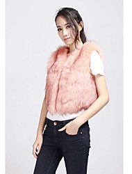 Fur Vest With Fashion Collarless In Faux Fur Casual/Party Vest(More Colors)