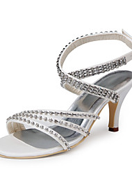 Bom gosto de cetim sandálias peep toe com strass sapatos de casamento