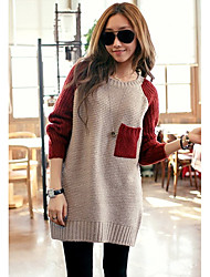 Women's Red Round Collar Spicing Loose Sweater