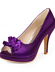 Graceful Satin Stiletto Heel Pumps with Satin Ruffle for Wedding/Special Occasion