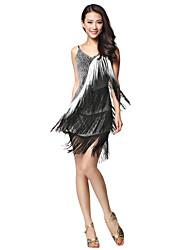 Dancewear Fabric Latin Dance Dress With Tassels & Rhinestone For Ladies