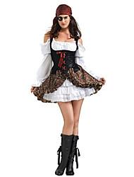 Costumes de Cosplay Costume de Soirée Pirate Fête / Célébration Déguisement d'Halloween Blanc Mosaïque Robe Bandeau Halloween Carnaval