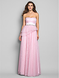 Formal Evening/Military Ball/Prom Dress - Blushing Pink Plus Sizes Sheath/Column Strapless Floor-length Tulle