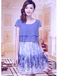 FANS JANE tamaño grande de la impresión floral vestido delgado (modelo aleatorio)