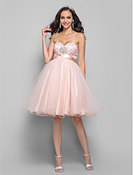 TS Couture® Cocktail Party / Homecoming / Prom Dress - Short Plus Size / Petite A-line Sweetheart Knee-length Tulle with Beading / Bow(s) / Crystal