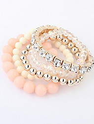 Sweet Multilayer Alloy With Rhinestone Beads Women's Bracelet