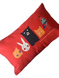 "20"" Rectangular Animal World Cotton/Linen Decorative Pillow Cover"