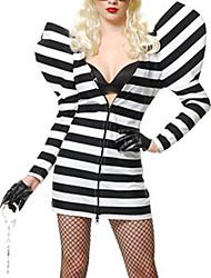 Black-and-white Stripe Long Sleeve Dress Women's Prisoner Costume