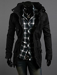 RR BUY Men Black Double Levels High Neck Multi Pockets Waist Tie Jacket