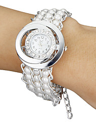 Women's Diamante Round Dial Pearl Band Quartz Analog Bracelet Watch (White) Cool Watches Unique Watches