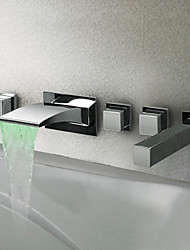 Thermochromic contemporain Chrome LED robinet de baignoire cascade salle de bains