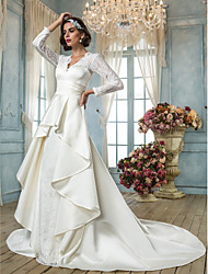 A-line V-neck Chapel Train Lace Satin Wedding Dress with Sash / Ribbon by LAN TING BRIDE®