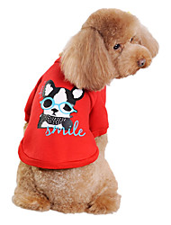 Cute Glasses Dog Pattern Warm Fleece T-shirt for Pets Dogs (Assorted Colors, Sizes)