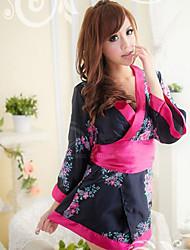Kimono Style Floral impressão azul escuro Sexy Lingeries