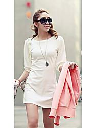 Mujeres cuello redondo de color sólido a largo mini vestido atractivo de la manga