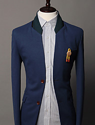 Men's stand collar double botton stitching pu slim suit