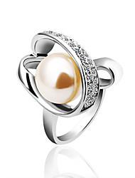 Diamant tchèque, strass, perle verte en cuivre d'anneau 18KRGP/le LKN18KRGPR158