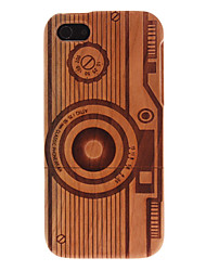 Detachable Protective Carving Camera Pattern Wooden Dark Coffee Back Case with Flocking Protection for iPhone 5/5S