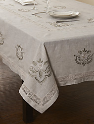 "59""X104"" Modern Style Linen and Cotton Beige Floral Table Cloth"