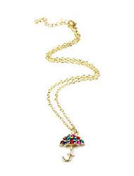 Small golden umbrella over drilling diamond sweater chain necklace N248