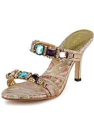 Bon goût strass Peep Toe Slingbacks Sandales avec strass chaussures Party (plus de couleurs)
