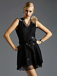 Women's Dresses , Polyester/Wool Vintage/Casual Sleeveless MOKA